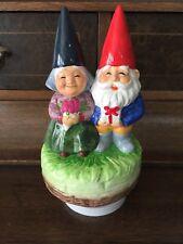 "Gorham Garden Gnome Pair Music Box ""Oh How We Danced"" Perfect"