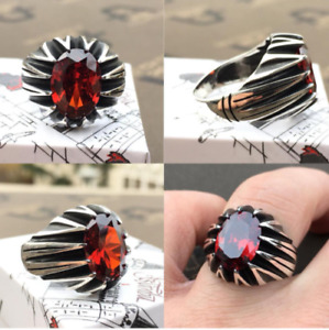 Men's Ring 925 Sterling Silver Turkish Handmade Jewelry Ruby All Size