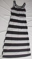 NEW Womens XL Maxi Dress Black White Striped Sundress NWT
