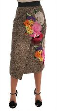 DOLCE & GABBANA Skirt Gold Floral Silk Below Knee Shift IT38/ US4 / XS RRP $4000