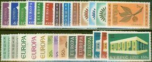 Cyprus 1962-69 Europa sets x 9 SG206-333 V.F Lightly Mtd Mint
