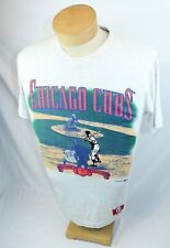 90s Chicago Cubs MLB Nutmeg Mills Embroidered L T-Shirt Genuine Merchandise USA