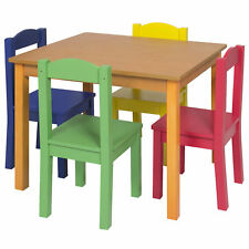 Kids Wooden Table and 4 Chair Set Furniture- Primary/Natural