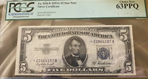 Fr.1656* 1953A $5 SILVER CERTIFICATE Star Note PCGS 63PPQ Nice!