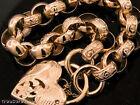 L04/5 Genuine SOLID 9ct Pink Rose Gold Day-Night Belcher PADLOCK Bracelet 8inch