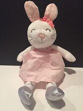 "Carters Ballerina Bunny Plush Lovey White Rabbit Pink Dress Tutu 10"" Silver Shoe"