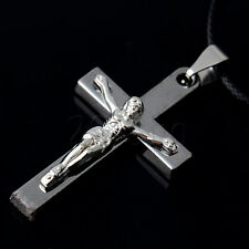Stainless Steel Jesus Christ Cross Crucifixion Pendant Choker Necklace YG