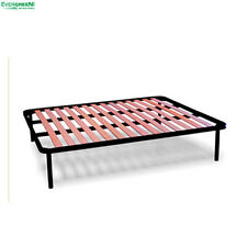 "Iron Slatted Bed Base APPLE Beechwood Slats Double 4ft4"" x 6ft3"" (135 X 190 cm)"