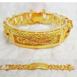 Dragon 22K 23K 24K THAI BAHT YELLOW GOLD GP Men's Bracelet 8 inch 58 Grams