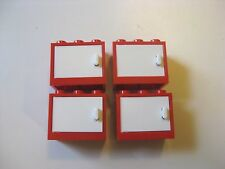 Lego Container 2x3x2 Cupboard RED w/ White Doors Lot of 4 pcs