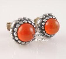 JULY BIRTHDAY BLOOM Genuine PANDORA Orange CARNELIAN Earring Studs 290543CAR NEW