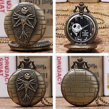 Bronze Nightmare Before Christmas Quartz Pocket Watch Necklace Chain Men Women