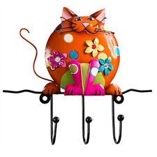Fat Cat carino GANCI MURO 3 GANCI PER CHIAVI, ecc. a MANO commercio equo e solidale. Gratis P&P