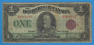 1923 Dominion of Canada One Dollar $1 Note World Currency
