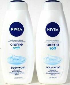 2 Nivea 25.36 Oz Creme Soft Almond Oil Delicate Perfume Moisturizing Body Wash