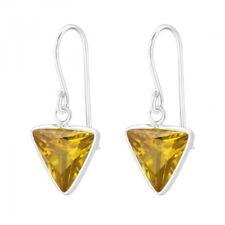 925 Sterling Silver Yellow Cubic Zirconia Triangle Drop/Dangle Earrings