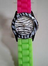 Fashion Pink/Green Zebra Jelly Silicone Rhinestone Girls/Women's Wrist Watch