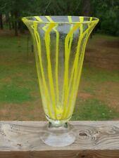 Large Vintage Venetian Yellow Striped Art Glass TRUMPET VASE Seed Bubbles NR