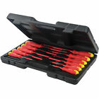 11PC ELECTRICIANS INSULATED SCREWDRIVER SET FLAT PHILLIPS SOFT GRIP IN CASE DIY