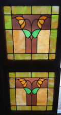"""Pair of Antique Chicago Stained Leaded Glass Windows 25"""" by 24"""" Circa 1920"""