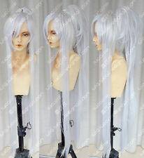 Brave10 Date Masamune New long Silver White Gradient Cosplay Wig+Ponytail+