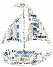 Personalised sail boat picture. Sail boat word cloud. Sailer gift. Fathers day