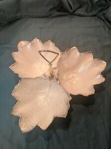 Vintage California Pottery 3 Leaf Divided Serving Plate / Good condition