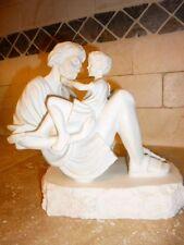 Unusual VINTAGE Greek/Roman MAN Holding BOY/CHILD FIGURINE Alabaster? STATUE EUC