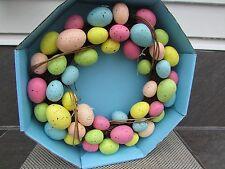 "Speckled Egg Spring Grape Vine Decorative Wreath Pastel/Vibrant Color Twigs 15"""