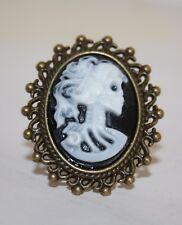 Skull Cameo Ring Bronze Squelette LADY Portrait victorien steampunk gothique goth