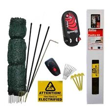 ELECTRIC POULTRY NETTING KIT - Energiser Green Chicken 50m Fence Fencing Posts