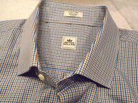 Peter Millar 100% Cotton Khaki and Blue Tattersall Check Sport Shirt NWT XL $125