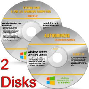 HP & Dell Computers Repair/Recovery Disc for Windows 10, 7, 8, XP CD 2 Disks