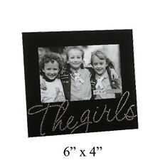 THE GIRLS BLACK GLASS & PINK CRYSTAL 6 X 4'' PHOTO FRAME NEW BOXED FG369GL