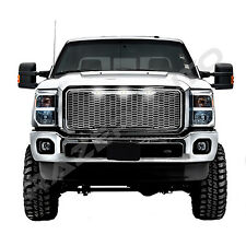 11-16 Ford Super Duty F250+F350 Raptor Chrome Mesh Grille+Shell+White LED light