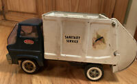 Vintage Tonka 1960's Sanitary Service Truck Pressed Steel Full Sized Blue White