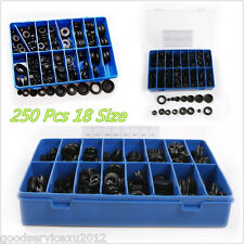 250 Pcs Black Rubber Grommet Firewall Hole Plug Set Electrical Wire Gasket & Box