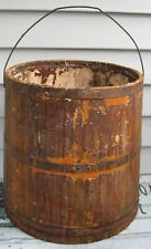 ANTIQUE SHAKER FABULOUS STAVED WOOD LG PAINT BUCKET 3 BANDS, HANDLE OLD PAINT