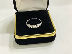 14k White Gold,diamonds ,ladies Wedding,annversary Band,ring, Size 6