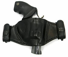 TAGUA BLACK LEATHER DUAL SNAP-ON QUICK DRAW OWB BELT HOLSTER - RUGER SP101 REV.