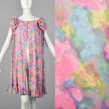 L 1960s Lucie Ann Wrap Robe Pink Floral Print Ruffle Sleeves Loungewear 60s VTG