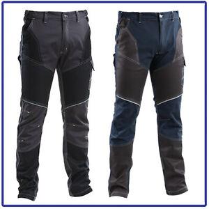 pantaloni da lavoro Uomo Multitasche Cargo Neri Slim Fit elasticizzati invernali