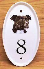 Black Staffie Oval Vertical House Door Plaque Dog Ceramic Sign Any Number