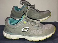 Womens Sketchers Sport Gray Teal Sneakers Size 7 Tie Front Flex Sole Shoes