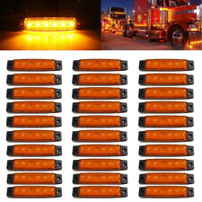 30 pcs ORANGE AMBER 12V 6 LED Side Marker Indicators Lights Truck Trailer Bus
