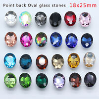15p 18x25mm oval color pointed back crystal glass rhinestone Brooch jewerly bead