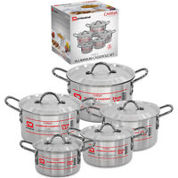 5pc Casserole Set Cooking StockPot Pan Aluminium Oven Safe With Lid Carina Large