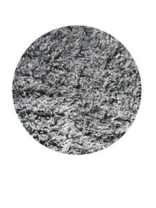 Shag Rug Modern Sterling Gray Heavy 3 Ft. Round Thick 2 inch Tufted Shag