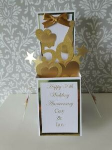 Handmade  Personalised 50th Golden Wedding Anniversary Pop Up Card, Unique Gift
