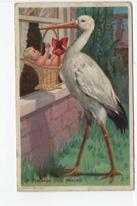 A Message From Heaven, Birth Announcement, Stork, Canceled, Vintage Postcard